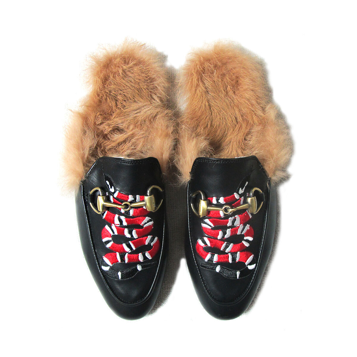 Embroidered Snake Appliqué Rabbit-Fur Lined Princetown Slippers Mules / Loafers