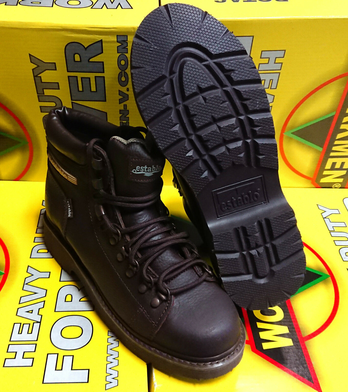 Para hombres Cuero Genuino Marrón Con Cordones botas De Trabajo