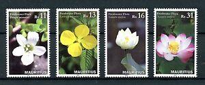 Mauritius-2016-Gomma-integra-non-linguellato-FLORA-D-039-ACQUA-DOLCE-4v-Set-Timbri-Fiori-di-Loto