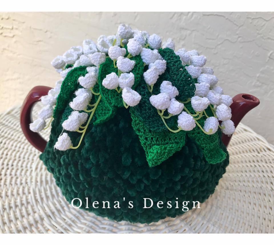 Handmade Crochet Couvre-théière thé vert Housse Lily de The Valley Fleurs de printemps