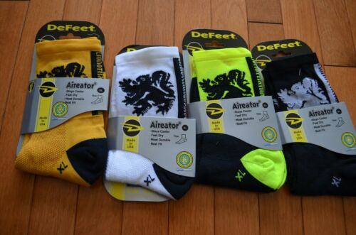 NEW DEFEET LION OF FLANDERS Socks 4 pack yellow XL Yellow Neon Black White