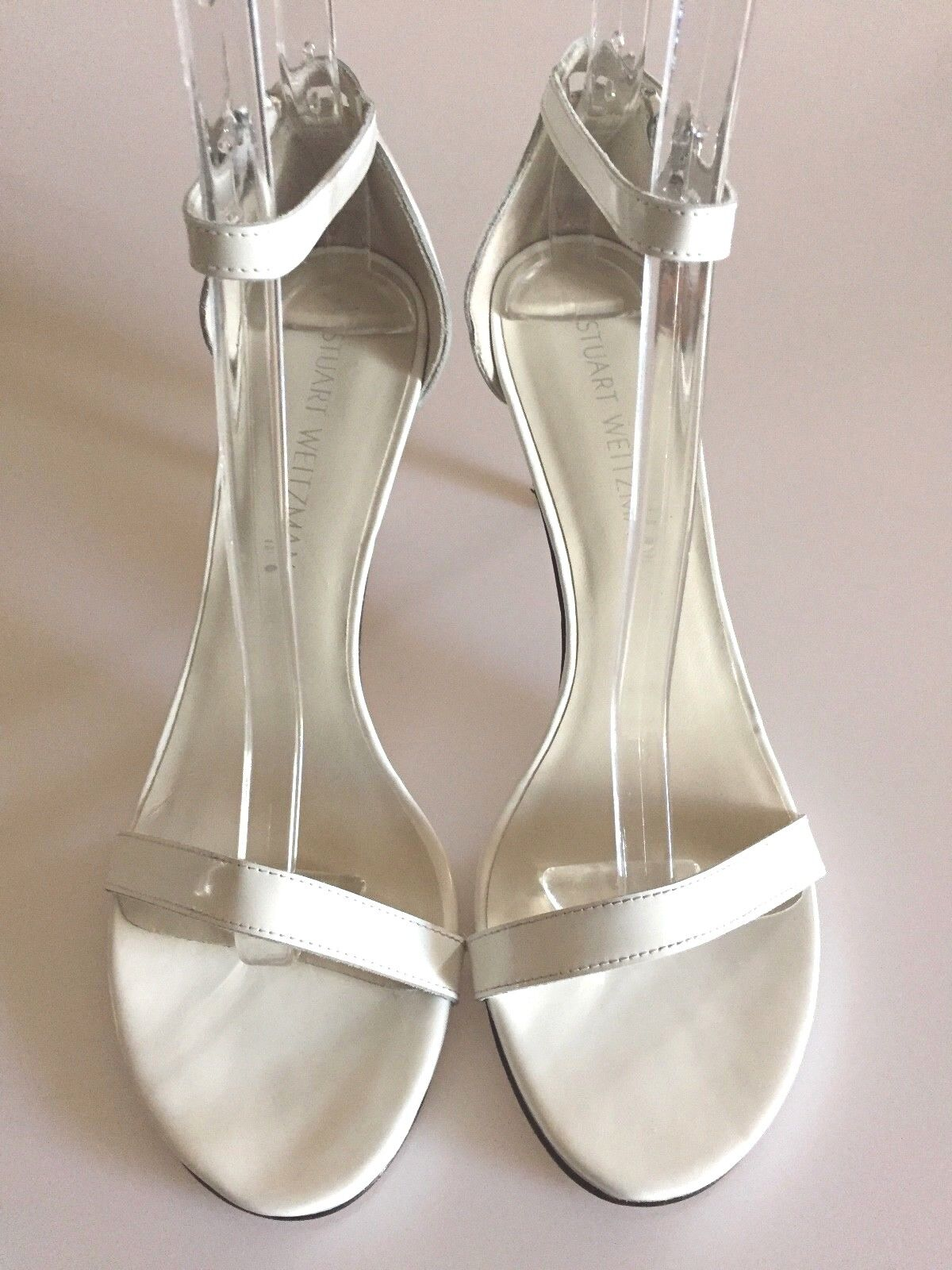 STUART WEITZMAN NearlyNude Ankle Strap White Nappa Leather Sandals size 9 M