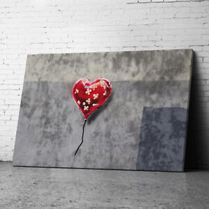 Red Heart Banksy Canvas Wall Art Prints Framed Large Graffiti Pictures