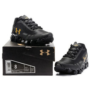 New Men s Under Armour Mens UA Scorpio Running Shoes Black gold ... e5988a515336