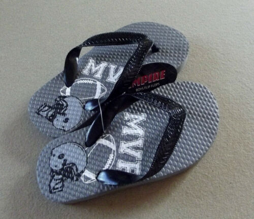 "NWT Empire Little Boy Sport-Theme Flip-Flop Sandals /""Football MVP/"" size L 1-2"