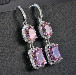 4Ct Emerald Cut Pink Sapphire Drop /& Dangle Earring Solid 14k White Gold Finish