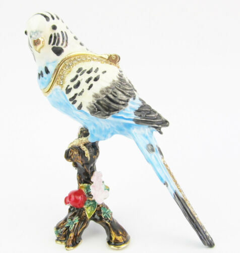 Budgerigar on Branch Jewelled Bird Trinket Box OR Figurine Blue Appr 8.5cm H