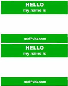Details Zu 100 X Hello My Name Is Stickers Green White 8cm X 6cm
