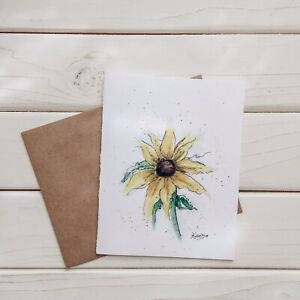 set of three hand painted watercolor cards