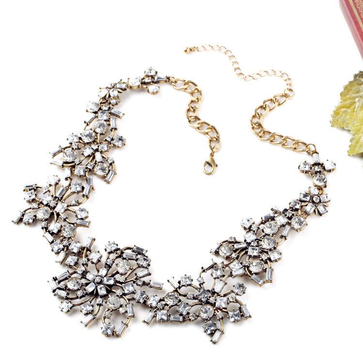Halskette golden art deco bluemen- Branch Koralle Kristall fein Original OSC 1