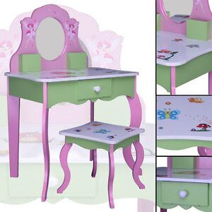 Kinder-SCHMINKTISCH-ROSA-gruen-426-weiss-Spiegel-Schublade-Frisiertisch-MDF-Holz