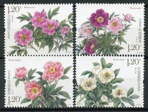 China-2019-MNH-Peonies-Peony-4v-Set-Flora-Flowers-Nature-Stamps