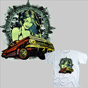 T-shirt-Lowrider-Rockabilly-Hot-Rod-Kustom-culture-PINUP-VINTAGE-CAR-USA-1036