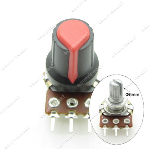 10 x Black Red Potentiometer Pot Rotary Knob Plastic Cap for 6mm Knurled Shaft