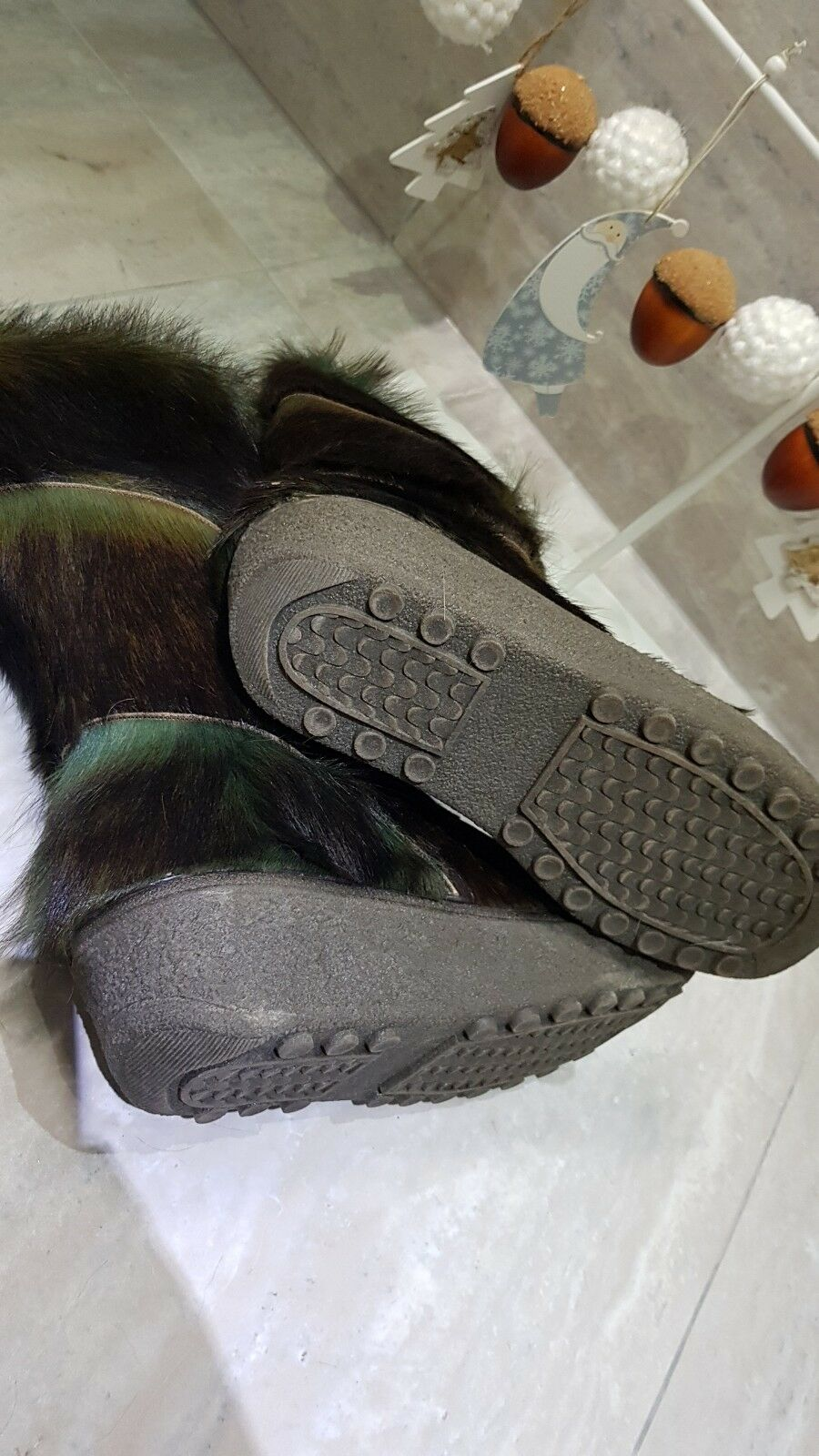 NEU NEU NEU Rare Yeti Fell Stiefel Grüntöne 40,5 Pelz Fur Goat Stiefel After Ski Vintage 868cef