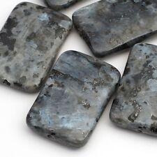 5 Norwegian moonstone larvikite silver grey black flat rectangular beads 30mm