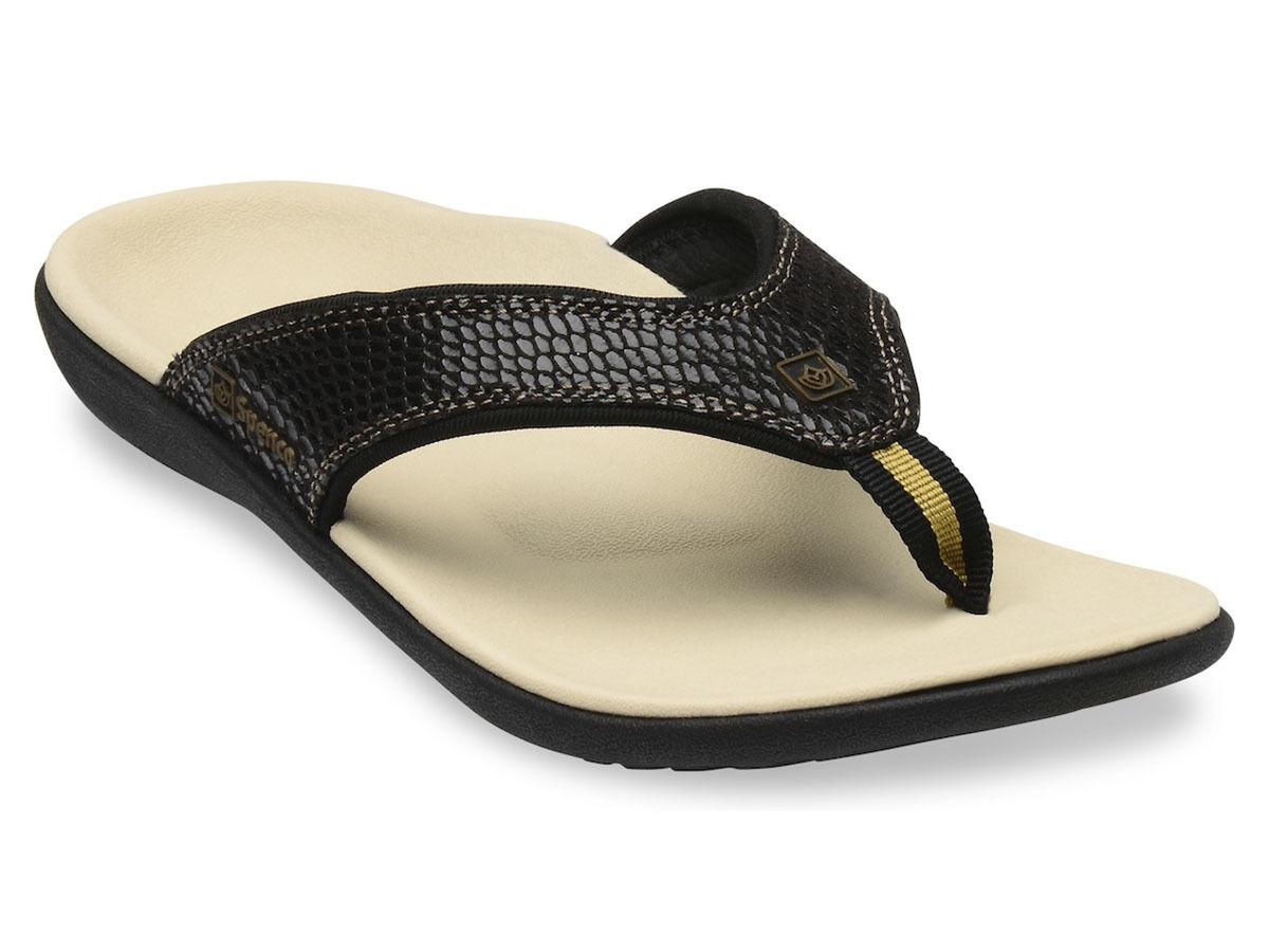 Para Mujer Apoyo Total Spenco Serpiente Flip Flop Sandal Negro Sz 6