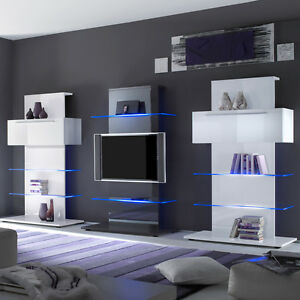 tv wohnwand primo anbauwand kombination in wei anthrazit hochglanz lackiert ebay. Black Bedroom Furniture Sets. Home Design Ideas