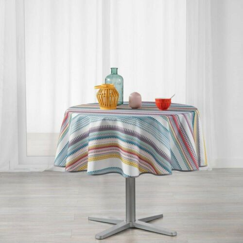 Mesa redonda manta Caly Ø 180 cm blanco con rayas de colores