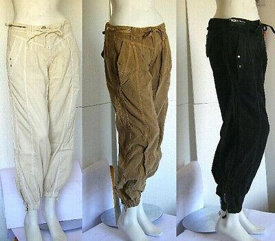 Cordiale Pantaloni Velluto Donna Nadia Fassi B201 Bianco-ecru Nero Tg 28 Aspetto Attraente