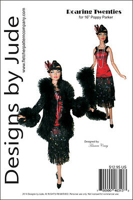"Roaring Twenties Flapper Doll Clothes Sewing Pattern for 16"" Poppy Integrity"