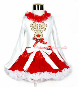 Xmas Hot Red Pettitop Tank Top Shirt Rosette Girls 1-8Y