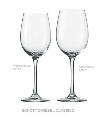 6 Rotweingläser SCHOTT ZWIESEL  Bordeaux-Pokal  CLASSICO 8213//130   BORDEAUXGLAS
