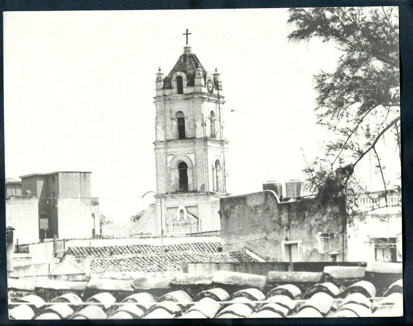 COLONIAL HERITAGE BELL TOWER & TILED ROOFS VIEW CUBA 1960s VINTAGE Photo...