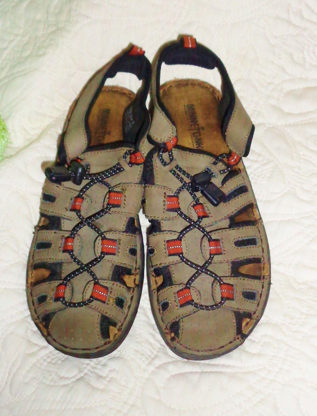 Women's Minnetonka Sandals Brown Leather Slip On Sandals Minnetonka Shoes Adjustable Closed Toe 7 d535b5