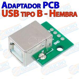 Adaptador Conector Usb Tipo B Hembra 2.0 Con Placa Pcb - Arduino Electronica Diy