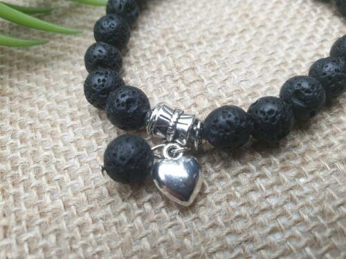 Pulsera lava corazón Edelstein perlas elástico naturaleza Stretch zirkona Ø 9 mm