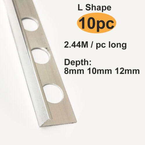 Round Edge Profiles 2.5m Length UK 10x Chrome Metal Tile Trim Straight L Shape