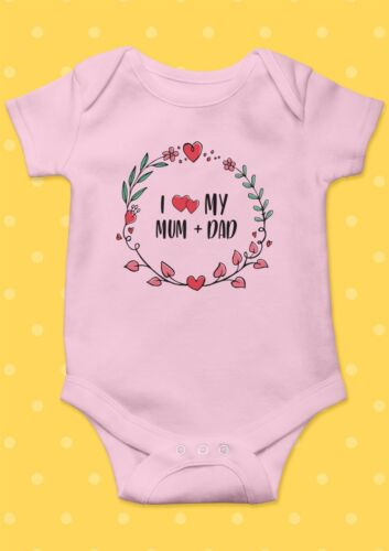 I Love My Mum And Dad Smile Funny Cool Baby Shower Boy Girl Bodysuit Romper 28