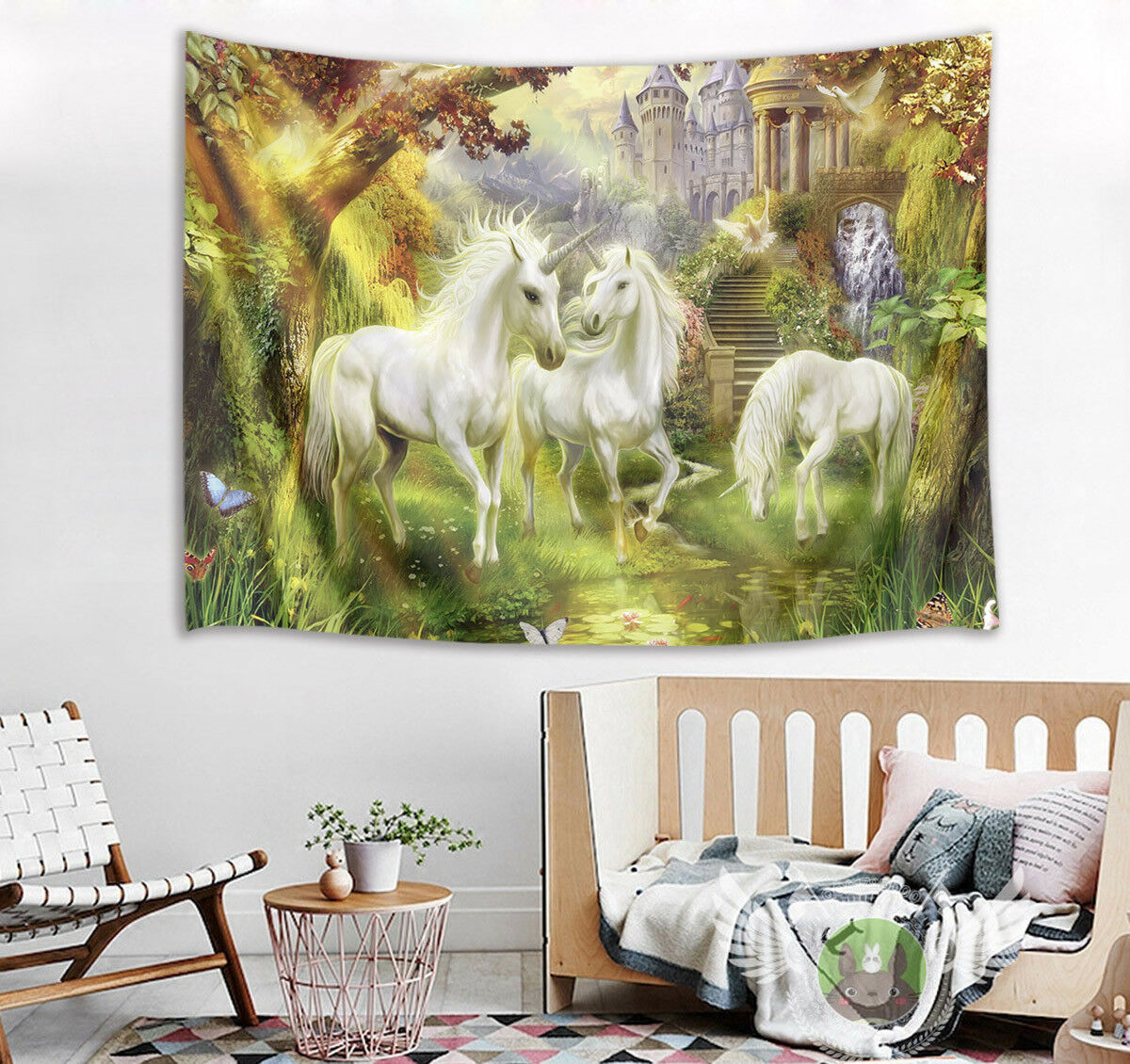 Wonderland White Unicorn Castle Wall Hanging Room Tapestry Bedspread Dorm Decor