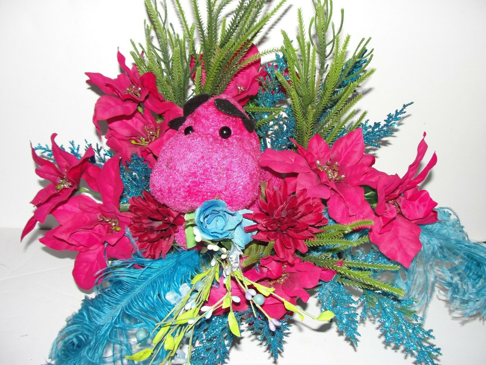 Hippopotamus for for for Christmas Valentines Day Fuchsia Rosa Silk Flower Arrangement 0d660e