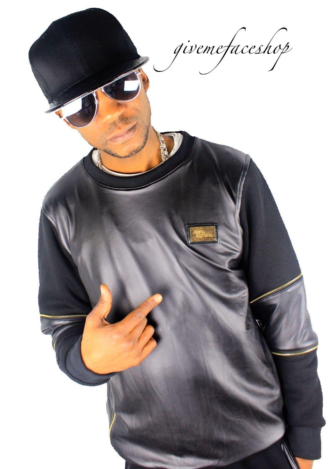 Time is Money G faux Leder pu sweatshirt club-star jumper hip hop, 3xl-6xl