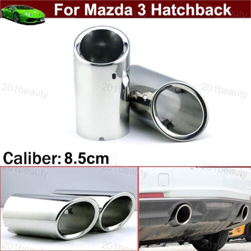 2 Exhaust Muffler Tail Pipe Tip Tailpipe Emblem For Mazda 3 Hatchback 2014-2019