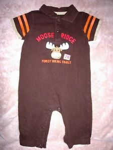 favorable price best selling premium selection Details about 9 month boys brown polo style cotton one-piece Carter's  outfit-Moose Ridge