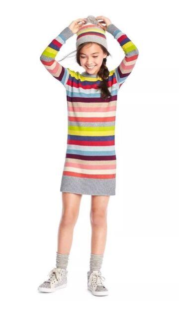 4a402d85809 NEW GAP Kids Girls Crazy Stripe Long Sleeve Silver Sweater Dress S M L  58  NWT