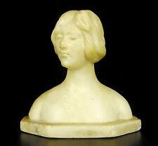Buste de femme au chignon en marbre c 1900 H: 14 cm sculpture woman with bun