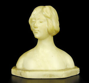 Bust Of Femme Au Bun IN Marble C 1900 H: 5 1/2in Sculpture Woman With Bun