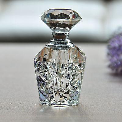 Vintage Clear Crystal Cut Glass Perfume Bottle Diamond Stopper Refillable 4ml