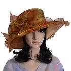 Women Floral Church Dress Wide Brim Hat Ascot Kentucky Derby Hat