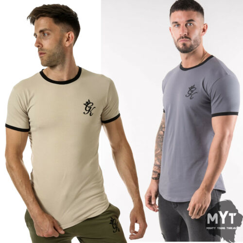 New Gym King Mens GK Ringer T-Shirt Mocha//Black Grey//Black