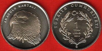 TURKEY LOT 10 PCS 1 LIRA 2018 BiMETAL UNC COIN x
