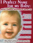 1 Perfect Name for My Baby: World's Biggest Alphabetical Name List by David John Ward (Paperback, 2006)