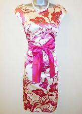 Coast Pink Floral Duchess Satin & Silk Belt Evening Occasion Pencil Dress 12