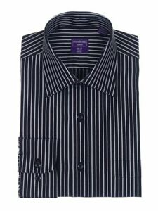 Mens Classic Fit Black /& White Striped Spread Collar Cotton Dress Shirt