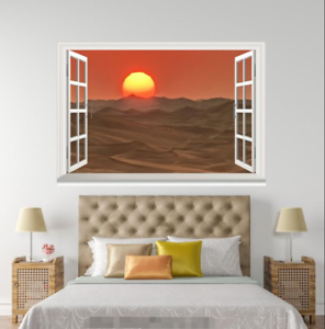 3D Sunset Sky 64 Open Windows Mural Wall Print Decal Deco AJ Wallpaper Ivy