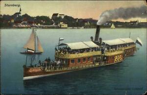 Starnberg-Germany-Steamer-Boat-Salondampfer-Luitpold-c1910-Postcard